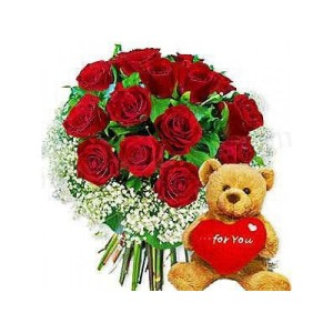 Love Teddy with Red Roses