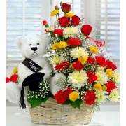 MIX FLOWERS BASKET WITH SMALL TEDDY