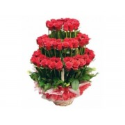 Rose tower of red roses